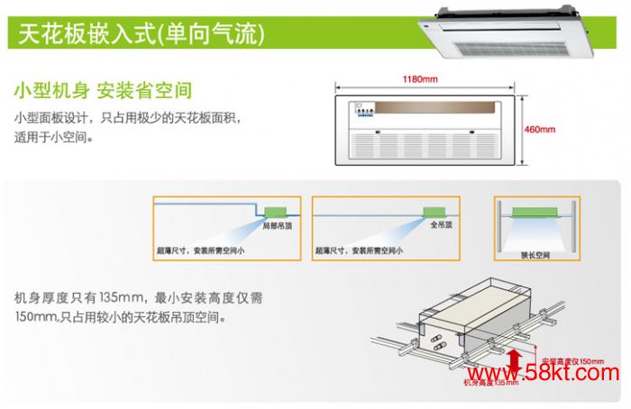 天花板嵌入式(单向气流)室内机